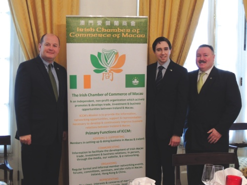 New Irish Consul General to HK and Macau Peter Ryan, left, Minister of State for Finance Simon Harris, center, and Irish Chamber of Commerce Chairman Niall Murray, right