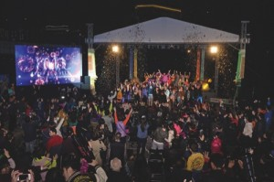 People join the New Year's Eve Countdown Party in Taipa to welcome 2015