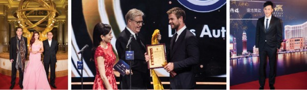 Anthony Wong (left). Middle: Edward Tracy, President and Chief Executive Officer of Sands China Ltd. presents the Best International Film Actor Award to Chris Hemsworth at The Venetian Theatre Sunday during the 15th Huading Awards. Right: Raymond Lam.