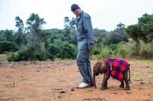 Yao Ming at the David Sheldrick Wildlife Trust elephant orphanage in Kenya