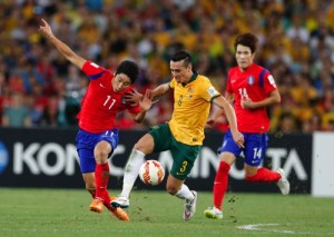 Australia's Jason Davidson, center, and South Korea's Lee Keun Ho scramble for the ball during the AFC Asian Cup final soccer match between South Korea and Australia in Sydney