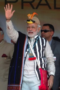 Indian Prime Minister Narendra Modi in a traditional attire of the northeastern Indian state of Arunachal Pradesh
