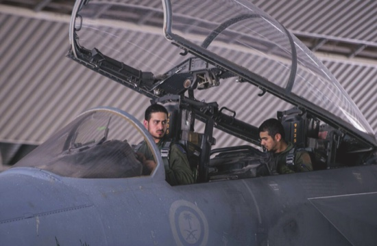 Saudi pilots sits in the cockpit of a fighter jet as part of U.S.-led coalition airstrikes on Islamic State militants and other targets