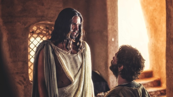 "Juan Pablo Di Pace portrays Jesus, left, and Johannes Haukur Johannesson portrays Thomas in a scene from ""A.D. The Bible Continues"""