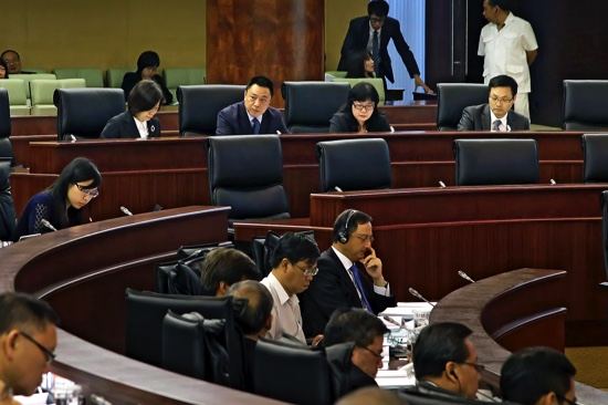 Secretary for Economy and Finance, Lionel Leong Vai Tac, attends the plenary session of the Legislative Assembly