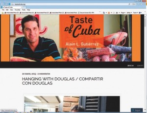 This screenshot of ATasteofCuba.org shows the website of Alain Gutierrez, a Cuban food blogger who is passionate about preserving and promoting traditional Cuban cuisine