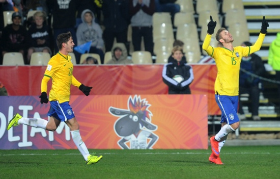 Leo Pereira, right, celebrates with teammate Jean Carlos after scoring a goal during their U20 football World Cup match against North Korea