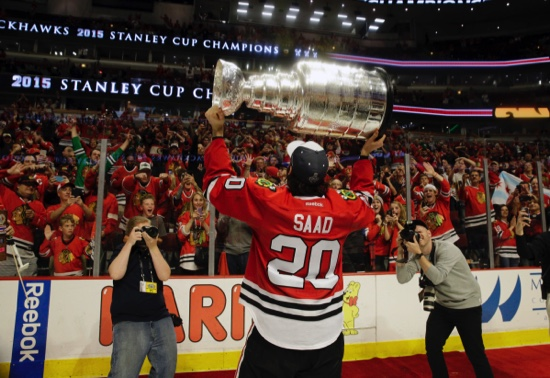 Chicago Blackhawks' Brandon Saad celebrates after defeating the Tampa Bay Lightning in Game 6 of the NHL hockey Stanley Cup Final series