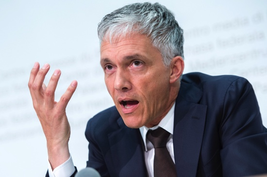 Swiss attorney general Michael Lauber speaks during a press conference in Bern