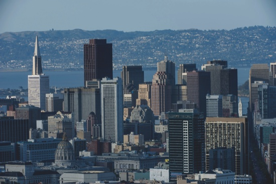 Buildings stand in the skyline of downtown San Francisco