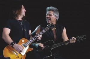 "Bon Jovi's lead singer Jon Bon Jovi, right, and guitarist Matt O'Ree perform during their ""Bon Jovi Live!"" concert at Gelora Bung Karno Stadium in Jakarta, Indonesia"