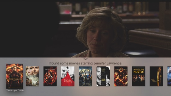 Search results when using the new Apple TV's Siri virtual assistant to find movies starring Jennifer Lawrence
