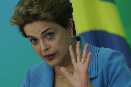 Brazil's President Dilma Rousseff speaks during a press conference about her impeachment process, in Brasilia on Monday