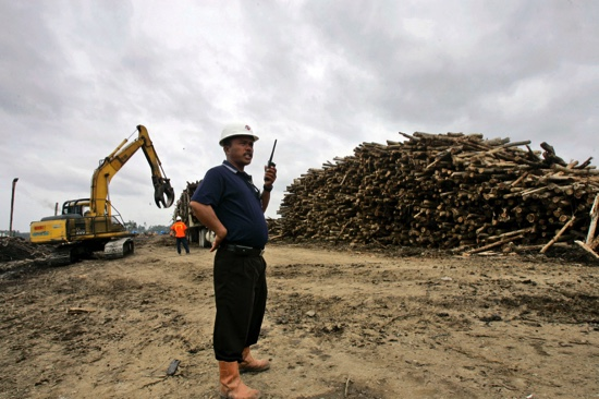 In this Nov. 4, 2007 file photo, a worker talks on his radio near a pile of acacia logs at a pulp and paper mills in Riau province, on Sumatra island