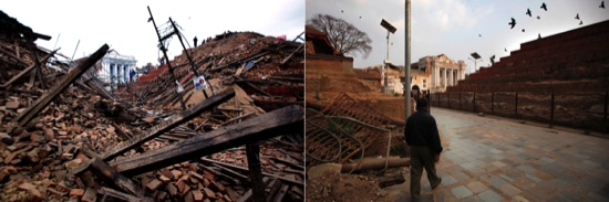 In this combination of two photos (on left), debris is seen at Durbar Square after an earthquake of magnitude-7.8, in Kathmandu