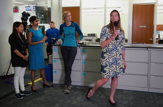Associated Press reporter Martha Mendoza (right) speaks in the New York newsroom as the AP wins the Pulitzer Prize for public service