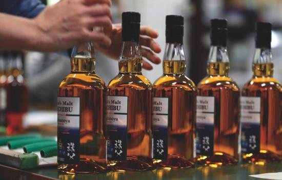 Japanese whisky being bottled
