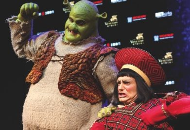 Kyle Timson, who plays the role of Shrek (left) and Christian Marriner, who plays the role of Lord Farquaad