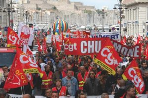 Employees, workers and students demonstrate in the Old-Port, in Marseille