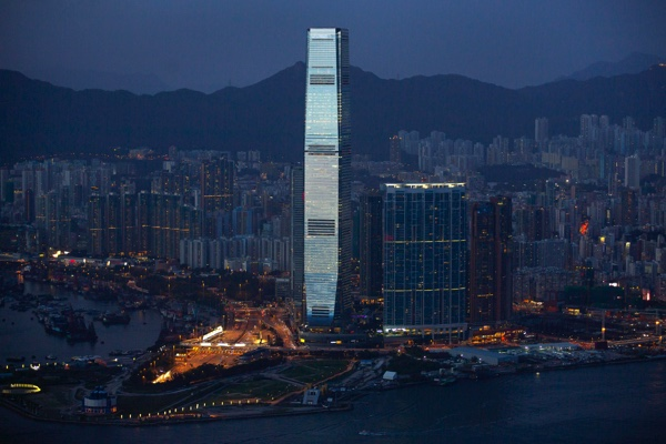 The 118-story International Commerce Centre (ICC), the tallest building in Hong Kong