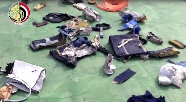 This pictures posted on Saturday, on the official Facebook page of the Egyptian Armed Forces spokesman show part of the wreckage from EgyptAir flight 804