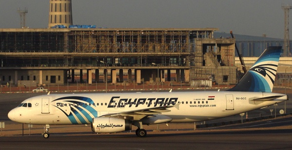 An EgyptAir Airbus A320 with the registration SU-GCC on the tarmac at Cairo airport