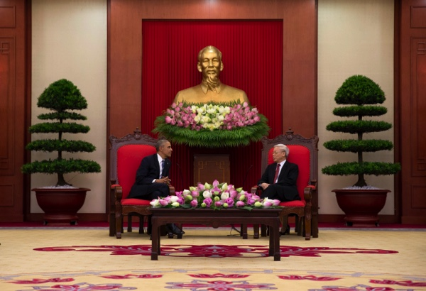 U.S. President Barack Obama meets with Vietnamese Communist party secretary general Nguyen Phu Trong at the Central Office of the Communist Party of Vietnam in Hanoi