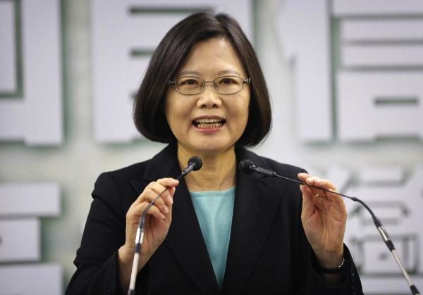 Taiwan's president Tsai Ing-wen speaks in Taipei