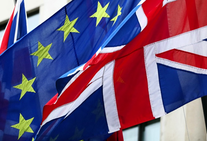 European Union Flags And Union Flags Flying Together As ÔBrexitÕ Vote Date May Be Decided This Week
