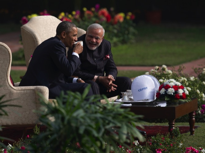President Barack Obama (left) and Indian Prime Minister Narendra Modi have coffee and tea in the gardens of the Hyderabad House, New Delhi