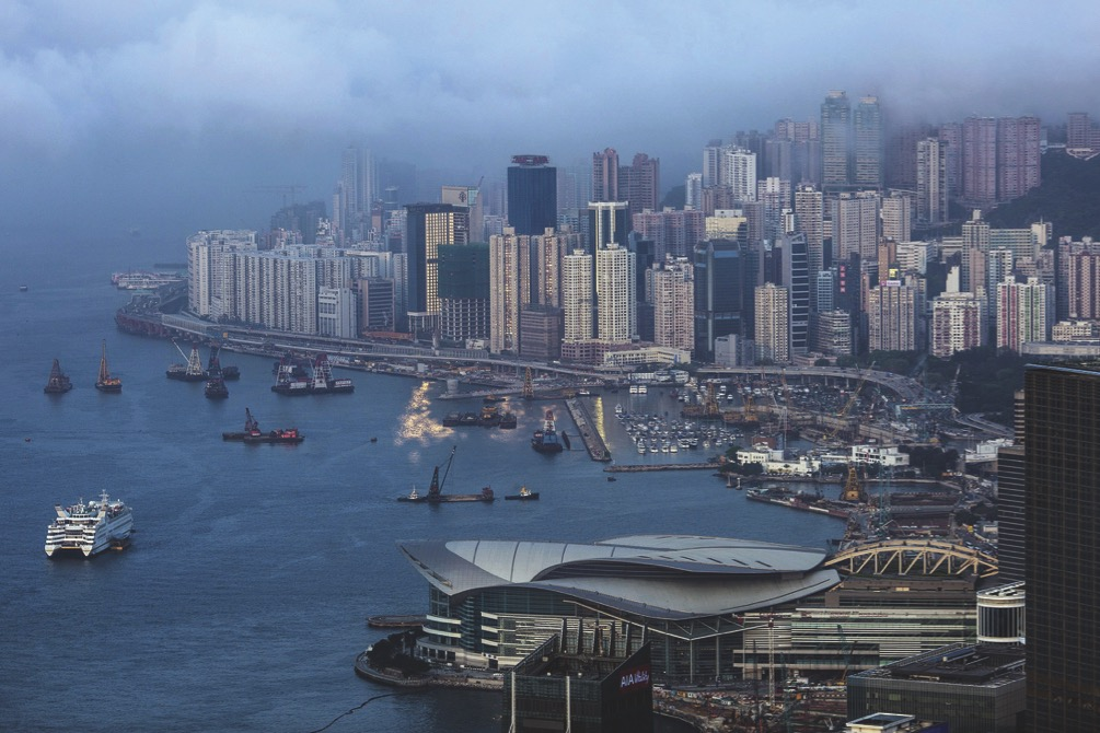 Hong Kong's skyline. Mainland residents invested a record amount in the city's insurance sector in the first quarter