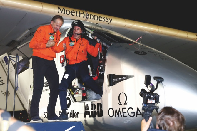 Bertrand Piccard (right) and Andre Borschberg (left) the pilots of the Solar Impulse 2 plane