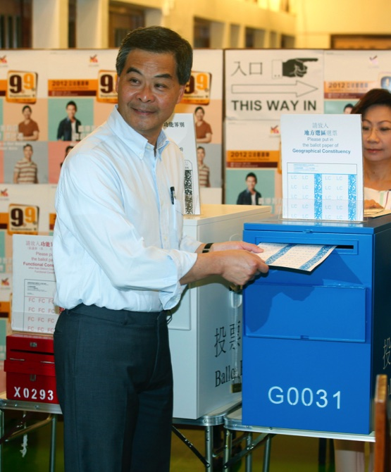 HK's Chief Executive, CY Leung, votes in the 2012 Legislative Council election