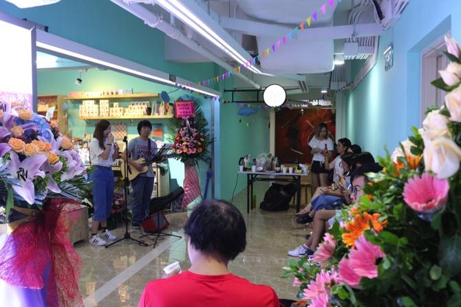Musicians perform on Binshu Studio's opening night, yesterday