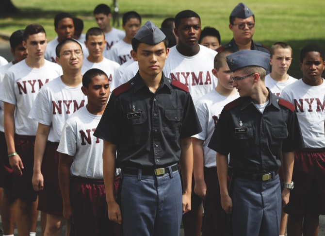 Cadets line up before lunch at the New York Military Academy in Cornwall-on-Hudson, N.Y.