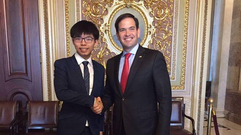 Joshua Wong with Sen. (R) Marco Rubio, in Washington DC Courtesy channelnewsasia.com)_