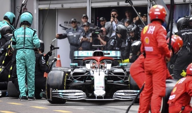 f8cb84117 Mercedes driver Lewis Hamilton of Britain drives in the pits during the  Monaco Formula One Grand Prix race